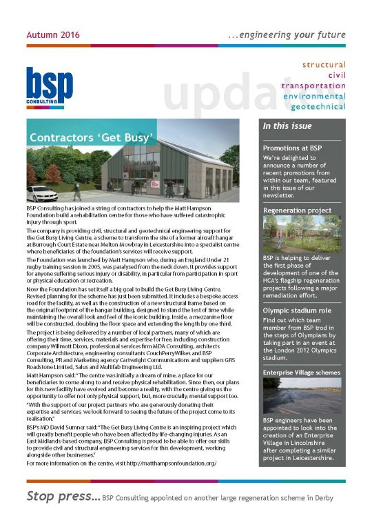 BSP Consulting Autumn Newsletter 2016